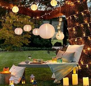 ProGreen Solar String Lights Lanterns, 30LED Outdoor Solar Lights, 6.5m/21.3fts, Waterproof