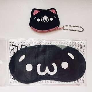 🚚 日本帶回顏文字(´・ω・`)貓咪吊飾+眼罩