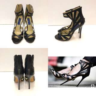 女神鞋 Jimmy choo crossover H&M black leather high sandals size 38