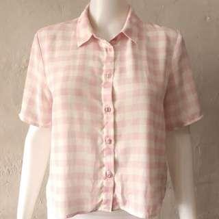 H&M gingham buttondown blouse M