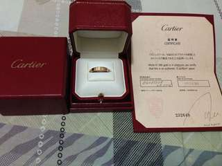 Cartier卡地亞 18K Gold Ring 戒指 100% real 真品, condtion like new Fullset 新既一樣,有證書