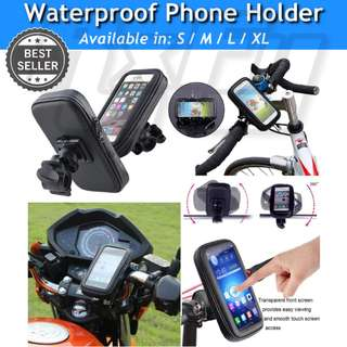 Waterproof 360° Bike Scooter Bicycle Stem Mount Phone Holder Case Pouch Bracket escooter iphone gps handphone