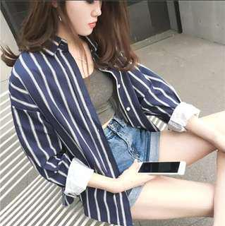 Ulzzang Strips Navy Outer wear