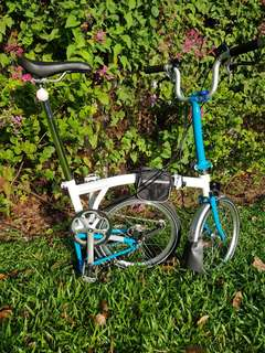 Brompton bicycle white blue color