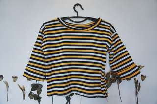 Yellow and Green Retro Color Stripes Top