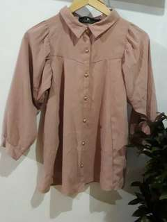 Nude Korean Formal Blouse
