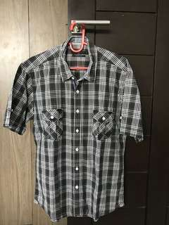 Men Shirt black check L