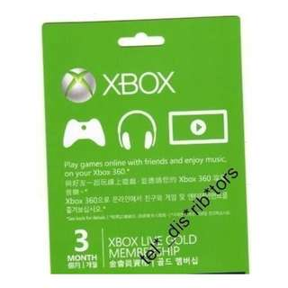 3 個月金會員卡 代碼 xbox 360 xbox ONE live 3 month Gold membership