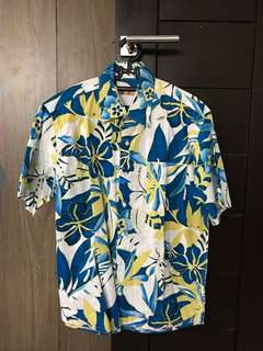 Men Shirt Hawaiian Blue M