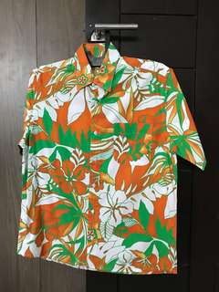 Men shirt hawaiian orange M