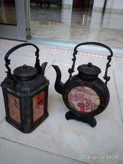 Metal vintage teapots