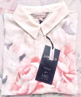 Marks & Spencer - Limited Edition - Blush Pink Long Sleeve Collared Top