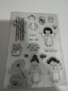 BN japanese kimono lady stamp set