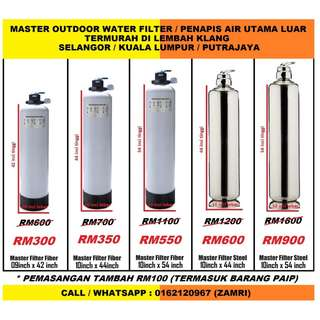 penapis air utama luar rumah saiz 10 inci x 44 inci jenis stainless steel siap pasang / water filter outdoor master size 10 inch x 44 inch stainless steel model with installation at AMAN PERDANA SELANGOR (ZAMRI WATER FILTER)