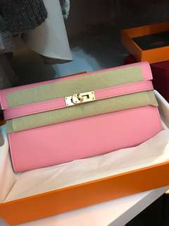 平讓 Hermes Kelly Wallet 全新 櫻花粉紅