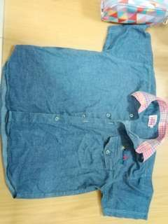 Denim shirt with checkered collar #KayaRaya