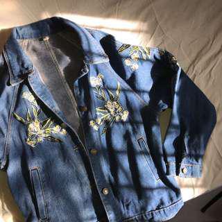 NEW embroidered denim blue jacket