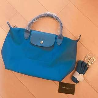 Longchamp 藍色厚料中size斜孭袋