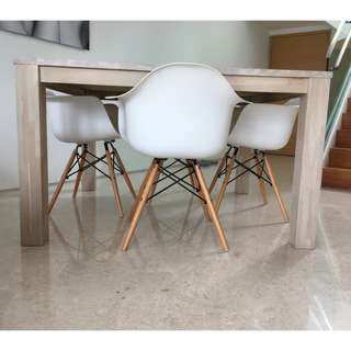 Oak wooden table white wash and 4 Eames replica chairs