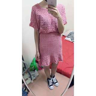 全新 粉色2件式魚尾洋裝