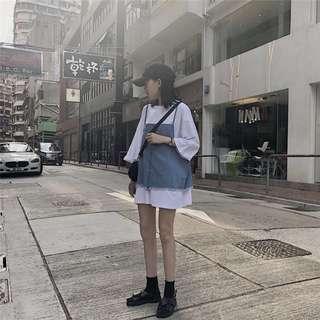 韓版寬鬆休閒中長款短袖T恤上衣+外搭牛仔馬甲吊帶背心兩件套