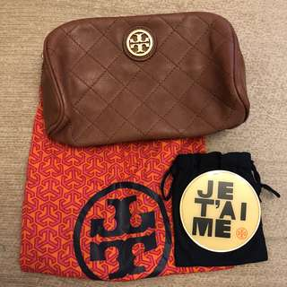Tory Burch cosmetic bag and mirror