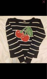 Cherry Navy Blue Knitted Sweater