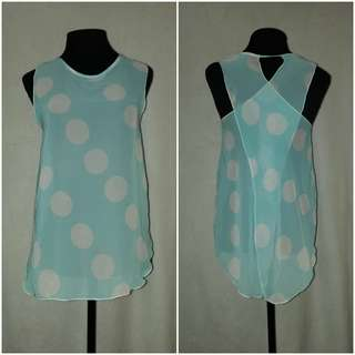 Blue Polka Dots See Thru Cover Up Top