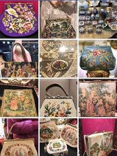 La Blanche vintage handbag bag 古董袋復古 懷舊十字繡花手袋