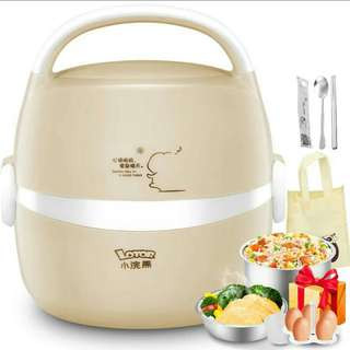 (220)Lotor Electric Heated Lunch Box 1.3L 2 Layers Stainless Steel Portable Mini Automatic Rice Cooker Heating Hot Artifact