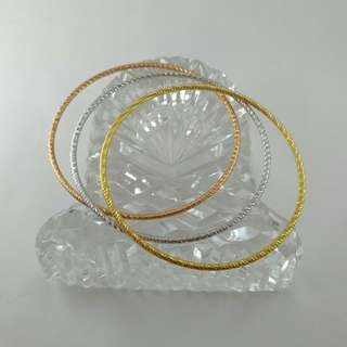 Gold, Silver, and Rose Gold Bangles Bundle of 3