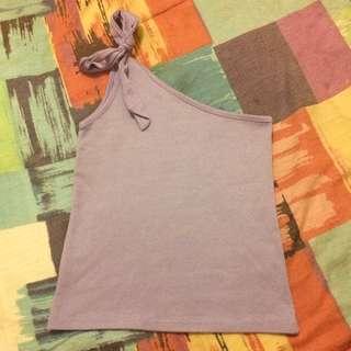 tie up/knotted lavander one shoulder top