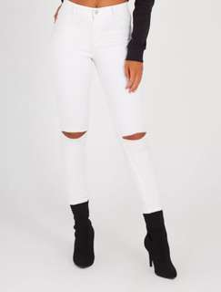 White knee rip jeans