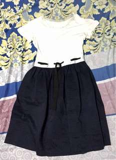 White Top and Navy Blue Bottom Dress