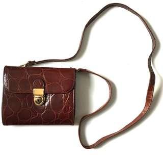 PLOVED: Vintage Italian Croc Skin Sling Bag