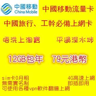 中國內地 中國移動上網 12GB包年上網數據卡 sim卡