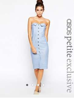 ASOS PETITE Bandeau Pencil Dress in Chambray Linen with Button Front