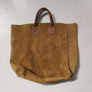 Vintage brookstone suede leather tote bag not ll bean visvim wtaps
