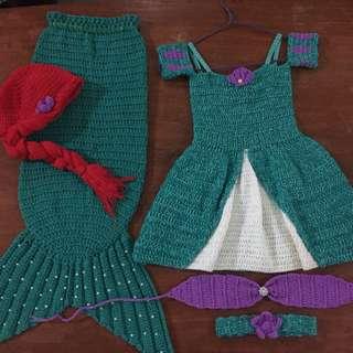 Crochet mermaid costume (sold as set)