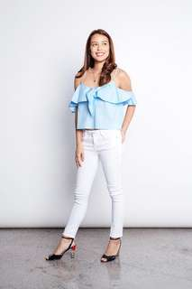 Pink Manila Off the Shoulder Tie top in White