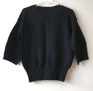 🚚 黑色顯瘦繭形針織上衣