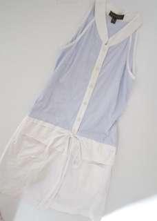 Plains & Prints Blue White Striped Dress