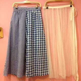 [彩色櫥窗]拼接黑格子長裙+綁帶式紗裙(藍)