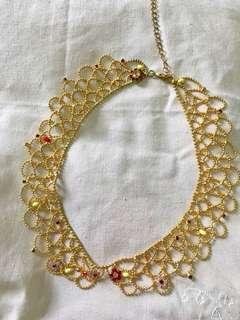 購至flea market Vintage Golden Beads Collar Necklace  假領子頸鏈