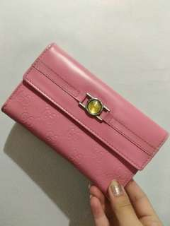 Gucci ins pink long wallet