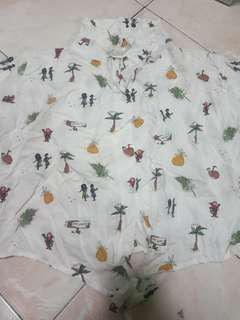 mixed pineapple print tie knot polo