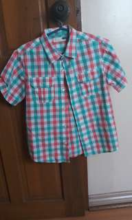Plaid short sleeves polo for boys (fits 7-8 yrs old)