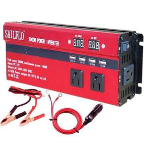 (224) SAILFLO 2000W Peak Power Inverter DC 12V to AC 110V Car Adapter with 5A 4 USB Charging Ports (Cigarette lighter adapter for device under 150W )
