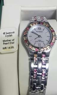 repriced -Swarobski Crystals, Mother of pearl dial