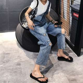 VM 春夏新款 歐美時尚水洗 寬鬆休閒 撕破洞 口袋設計寬鬆H型 吊帶牛仔褲
